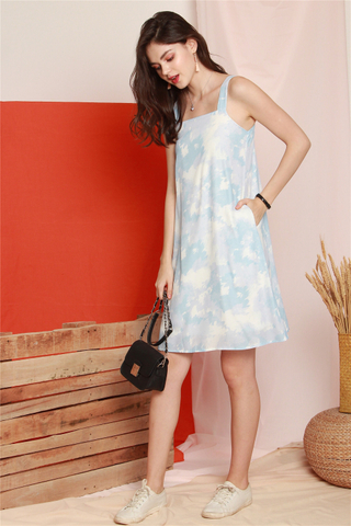Ombre Dreams Sash Shift Dress in Blue
