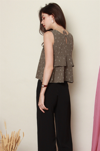 Scribble Prints Tiered Top in Olive