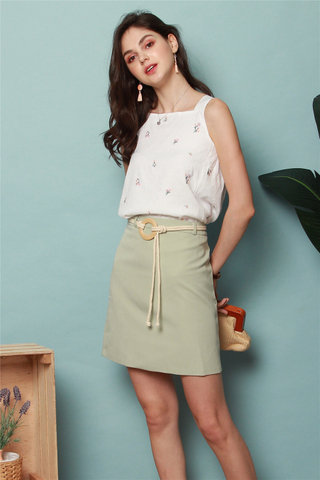Circle Weave Belted Skirt in Sage Green