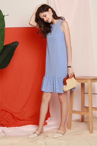 Pastel Polka Dot Dropwaist Midi Dress