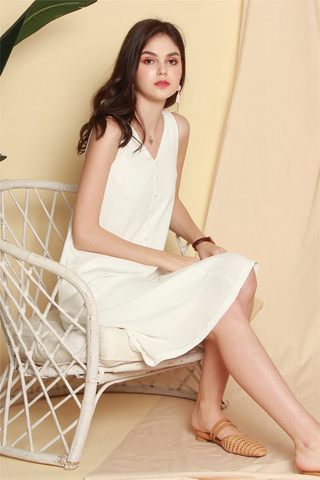 ACW Button Flowy Midi Dress in White