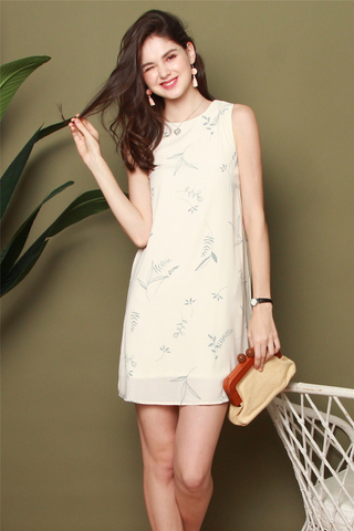 ACW Trapeze Dress in Drawn Leaves