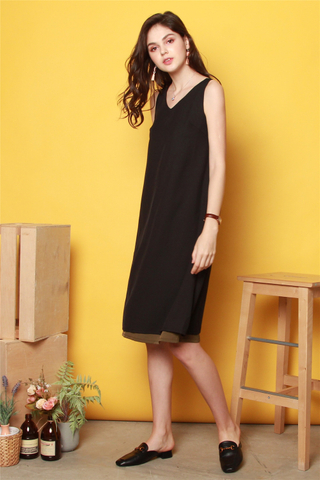 ACW Two Way Colourblock Midi Dress in Black-Olive