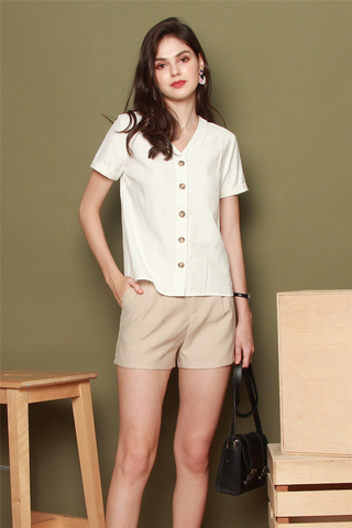 ACW Basic Button Down Sleeve Top in White