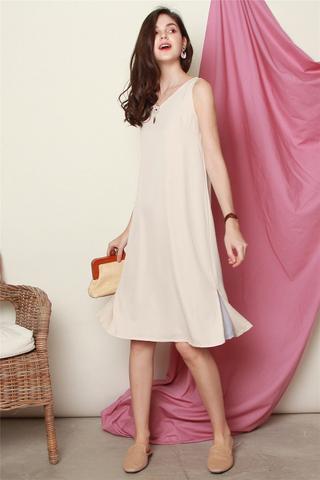 ACW Two Way Colourblock Midi Dress in Dusty Grey-Cream