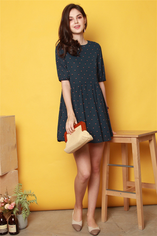 Sailboat Printed Sleeved Babydoll Dress in Navy