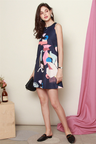 Abstract  Coloured Trapeze Dress in Navy
