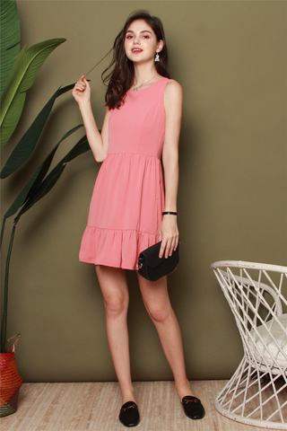ACW Dropwaist Flutter Hem Work Dress in Peach