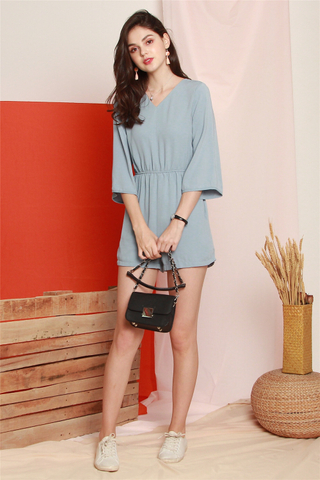 ACW Bell Sleeve Pocket Romper in Ash Blue