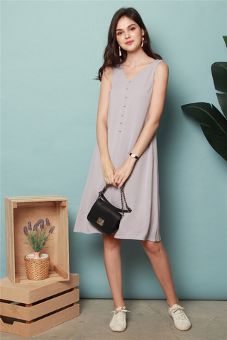 ACW Button Flowy Midi Dress in Dusty Grey