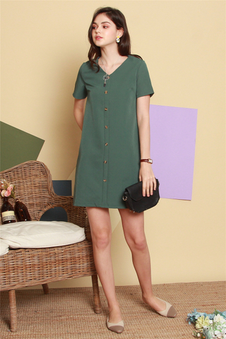 *BACK IN STOCK* Button Panel Sleeve Shift Dress in Emerald