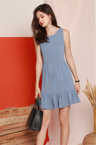 ACW Dropwaist Flutter Hem Work Dress in Ash Blue