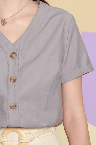 ACW Basic Button Down Sleeve Top in Grey