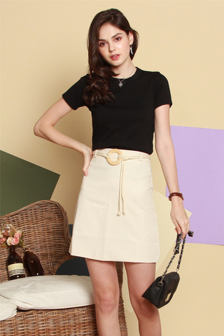 Circle Weave Belted Skirt in Cream