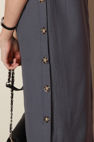 Side Button Panel Midi Sleeve Dress in Ash Blue