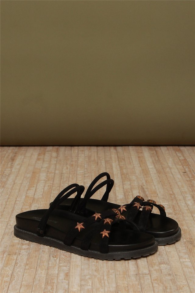 Star Studded Sliders in Black