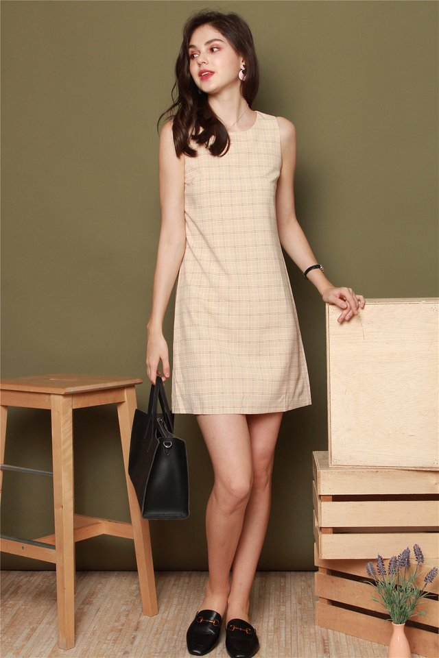 ACW Pastel Gingham Shift Dress in Khaki