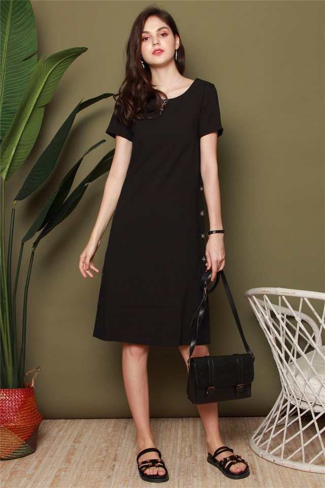 *Backorder 3* Side Button Panel Midi Sleeve Dress in Black