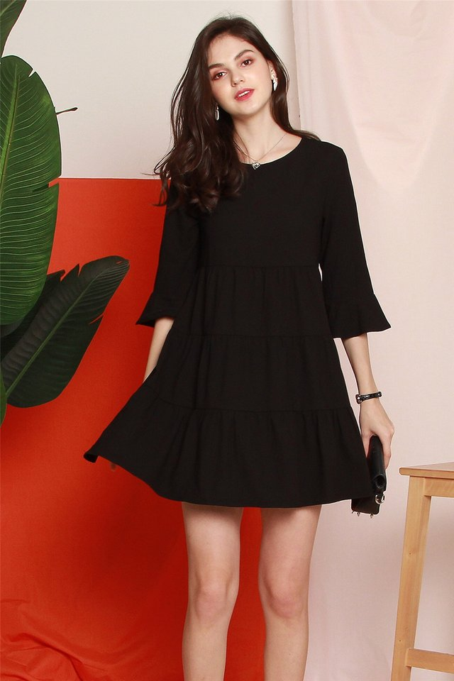 ACW Bell Sleeve Tiered Babydoll Dress