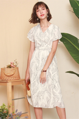 Drawn Feathers Flutter Sleeve Midi Dress in White