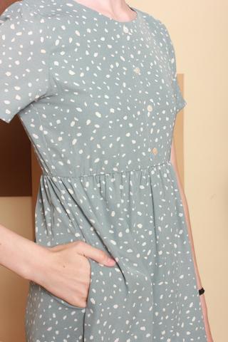 Speckles Printed Romper Dress in Seafoam