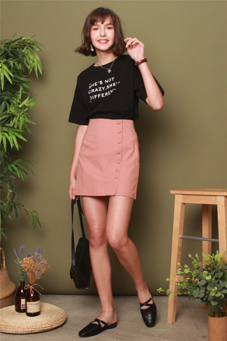 Button Overlap Skirt in Dusty Pink