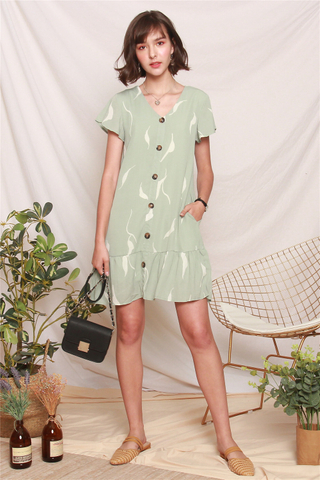 Abstract Print Flutter Sleeve Dress in Sage Green