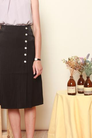 Button Panel Midi Slit Skirt in Black