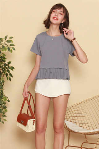 Box Pleated Sleeve Top in Ash Blue