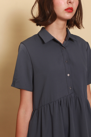 *BACK IN STOCK* ACW Button Down Flutter Hem Shirt Dress in Stone Blue