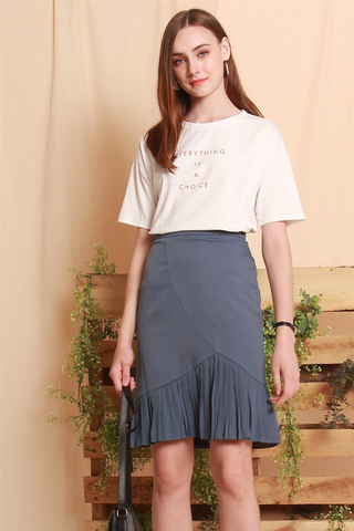 Pleated Asymmetrical Midi Skirt in Blue