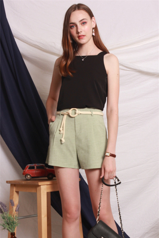 Circle Weave Belt Shorts in Sage Green