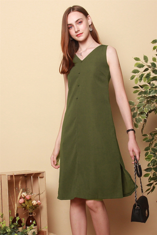Button Down Side Slit Midi Dress in Olive