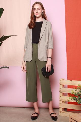 Basic Soft Tweed Oversized Blazer in Grey