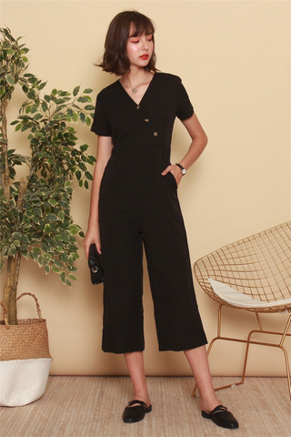Asymmetric Button Sash Jumpsuit in Black