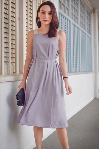 ACW Colourblock Cut In Sash Midi Dress in Dusty Grey
