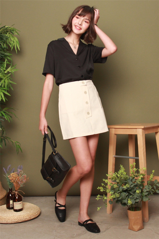 Structured Button Panel Skirt in Khaki