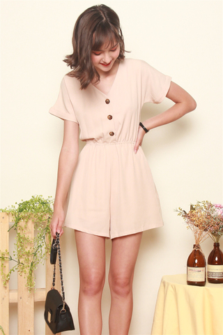 *BACK IN STOCK* ACW Button Basic Romper in Sand