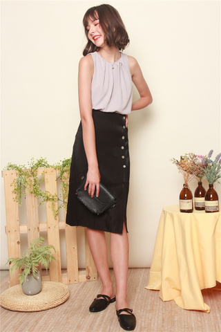 Button Panel Midi Slit Skirt in Black