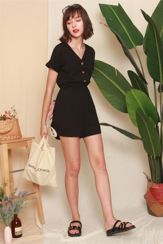 *BACK IN STOCK* ACW Button Basic Romper in Black