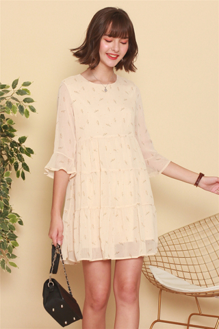 *BACK IN STOCK* ACW Dandelion Bell Sleeve Tiered Dress in Ivory