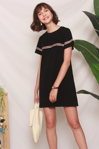 *Backorder* ACW Knit Panel Stripe Tee Dress in Black
