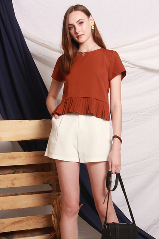 Box Pleated Sleeve Top in Rust