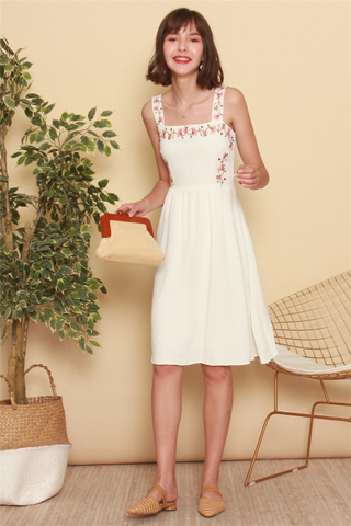 *BACK IN STOCK* ACW Rose Embroidery Midi Swing Dress in White