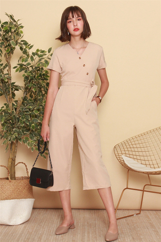 Asymmetric Button Sash Jumpsuit in Sand