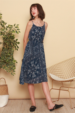 *BACK IN STOCK* Porcelain Batik Tent Dress in Navy