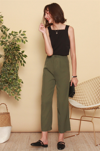*BACK IN STOCK* High Waisted Flare Pants in Olive