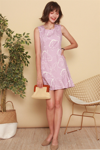 Abstract Lines Drop Hem Work Dress in Dusty Pink