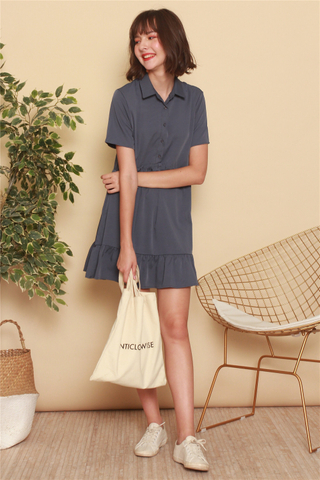 *BACK IN STOCK* ACW Button Down Flutter Hem Shirt Dress in Stone Blue