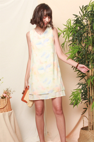 Ombre Layered Trapeze Dress in Daffodil